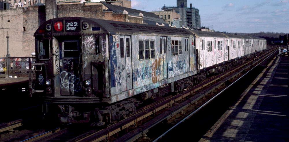 (73k, 1000x493)<br><b>Country:</b> United States<br><b>City:</b> New York<br><b>System:</b> New York City Transit<br><b>Line:</b> IRT West Side Line<br><b>Location:</b> 231st Street <br><b>Route:</b> 1<br><b>Car:</b> R-21 (St. Louis, 1956-57) 7298 <br><b>Photo by:</b> Robert Callahan<br><b>Date:</b> 11/17/1984<br><b>Viewed (this week/total):</b> 1 / 1083