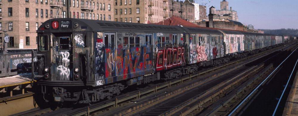 (68k, 1000x390)<br><b>Country:</b> United States<br><b>City:</b> New York<br><b>System:</b> New York City Transit<br><b>Line:</b> IRT West Side Line<br><b>Location:</b> 231st Street <br><b>Route:</b> 1<br><b>Car:</b> R-21 (St. Louis, 1956-57) 7299 <br><b>Photo by:</b> Robert Callahan<br><b>Date:</b> 1/12/1985<br><b>Viewed (this week/total):</b> 0 / 699