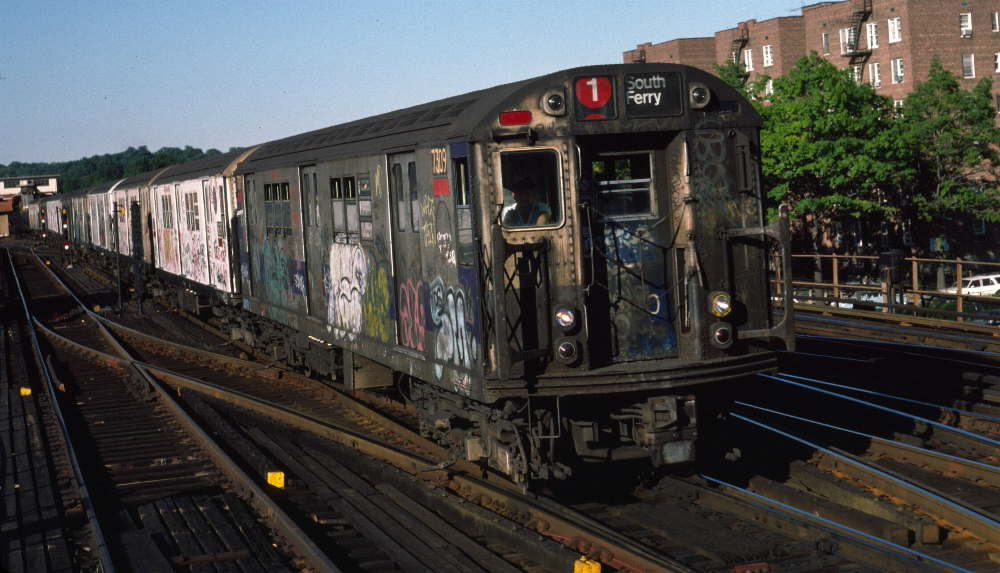 (79k, 1000x573)<br><b>Country:</b> United States<br><b>City:</b> New York<br><b>System:</b> New York City Transit<br><b>Line:</b> IRT West Side Line<br><b>Location:</b> 238th Street <br><b>Route:</b> 1<br><b>Car:</b> R-22 (St. Louis, 1957-58) 7309 <br><b>Photo by:</b> Robert Callahan<br><b>Date:</b> 9/21/1984<br><b>Viewed (this week/total):</b> 2 / 910