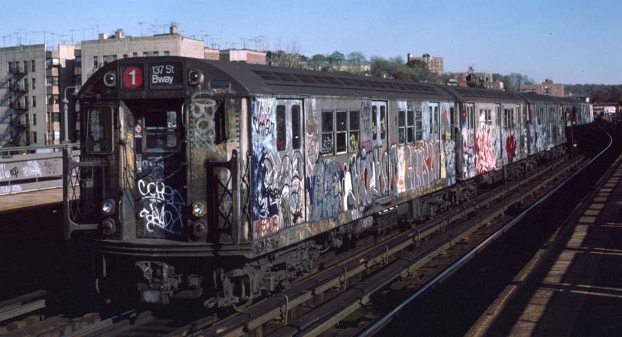 (65k, 900x489)<br><b>Country:</b> United States<br><b>City:</b> New York<br><b>System:</b> New York City Transit<br><b>Line:</b> IRT West Side Line<br><b>Location:</b> 238th Street <br><b>Route:</b> 1<br><b>Car:</b> R-22 (St. Louis, 1957-58) 7309 <br><b>Photo by:</b> Robert Callahan<br><b>Date:</b> 11/3/1984<br><b>Viewed (this week/total):</b> 4 / 901