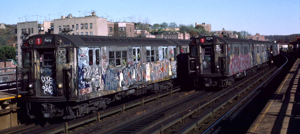 (65k, 1000x446)<br><b>Country:</b> United States<br><b>City:</b> New York<br><b>System:</b> New York City Transit<br><b>Line:</b> IRT West Side Line<br><b>Location:</b> 238th Street <br><b>Route:</b> 1<br><b>Car:</b> R-22 (St. Louis, 1957-58) 7309 <br><b>Photo by:</b> Robert Callahan<br><b>Date:</b> 11/3/1984<br><b>Viewed (this week/total):</b> 2 / 986