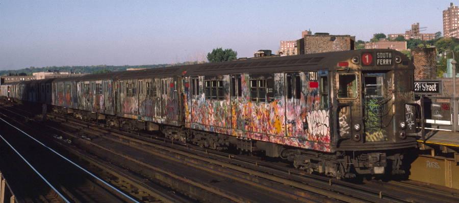 (59k, 900x399)<br><b>Country:</b> United States<br><b>City:</b> New York<br><b>System:</b> New York City Transit<br><b>Line:</b> IRT West Side Line<br><b>Location:</b> 231st Street <br><b>Route:</b> 1<br><b>Car:</b> R-22 (St. Louis, 1957-58) 7311 <br><b>Photo by:</b> Robert Callahan<br><b>Date:</b> 10/11/1984<br><b>Viewed (this week/total):</b> 0 / 1049