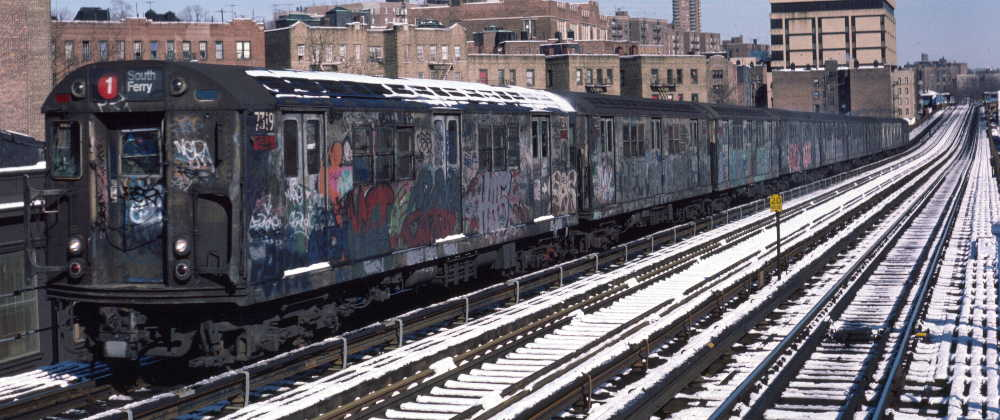 (73k, 1000x420)<br><b>Country:</b> United States<br><b>City:</b> New York<br><b>System:</b> New York City Transit<br><b>Line:</b> IRT West Side Line<br><b>Location:</b> 207th Street <br><b>Route:</b> 1<br><b>Car:</b> R-22 (St. Louis, 1957-58) 7319 <br><b>Photo by:</b> Robert Callahan<br><b>Date:</b> 2/3/1985<br><b>Viewed (this week/total):</b> 0 / 991