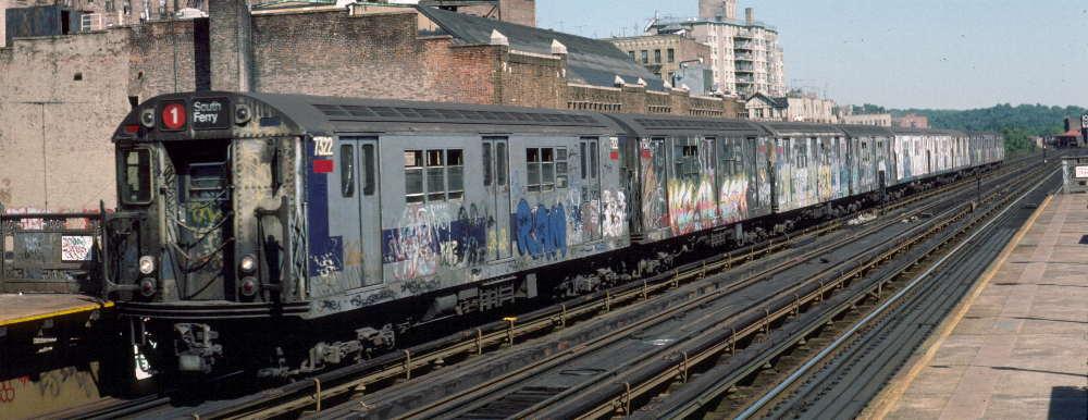 (66k, 1000x386)<br><b>Country:</b> United States<br><b>City:</b> New York<br><b>System:</b> New York City Transit<br><b>Line:</b> IRT West Side Line<br><b>Location:</b> 231st Street <br><b>Route:</b> 1<br><b>Car:</b> R-22 (St. Louis, 1957-58) 7322 <br><b>Photo by:</b> Robert Callahan<br><b>Date:</b> 9/22/1984<br><b>Viewed (this week/total):</b> 1 / 819