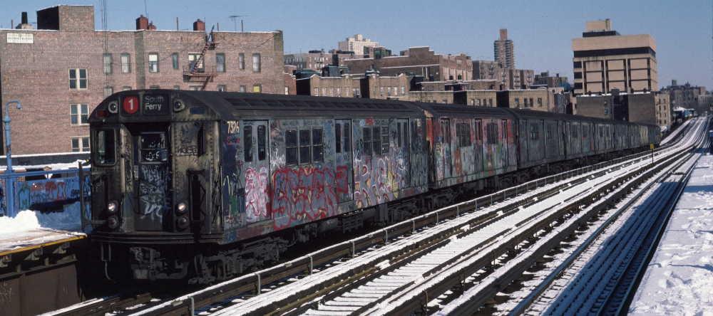 (66k, 1000x444)<br><b>Country:</b> United States<br><b>City:</b> New York<br><b>System:</b> New York City Transit<br><b>Line:</b> IRT West Side Line<br><b>Location:</b> 207th Street <br><b>Route:</b> 1<br><b>Car:</b> R-22 (St. Louis, 1957-58) 7326 <br><b>Photo by:</b> Robert Callahan<br><b>Date:</b> 2/3/1985<br><b>Viewed (this week/total):</b> 0 / 847