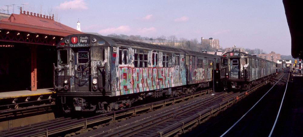 (69k, 1000x453)<br><b>Country:</b> United States<br><b>City:</b> New York<br><b>System:</b> New York City Transit<br><b>Line:</b> IRT West Side Line<br><b>Location:</b> 238th Street <br><b>Route:</b> 1<br><b>Car:</b> R-22 (St. Louis, 1957-58) 7331 <br><b>Photo by:</b> Robert Callahan<br><b>Date:</b> 2/16/1985<br><b>Viewed (this week/total):</b> 1 / 969