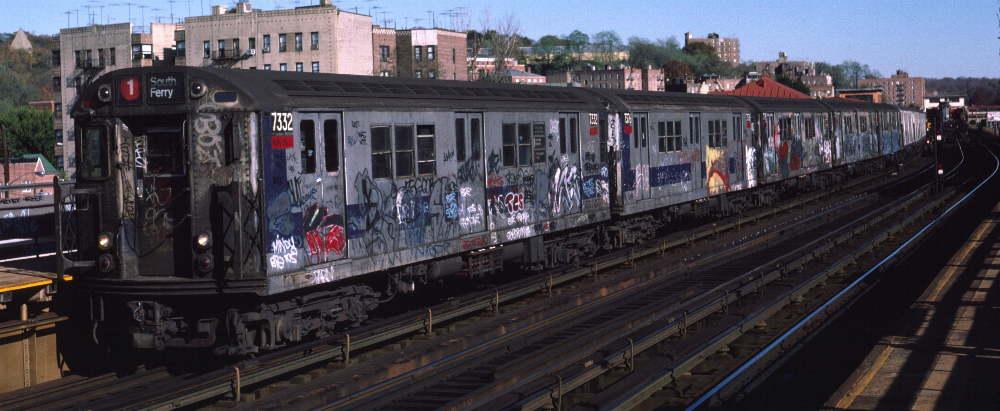 (64k, 1000x411)<br><b>Country:</b> United States<br><b>City:</b> New York<br><b>System:</b> New York City Transit<br><b>Line:</b> IRT West Side Line<br><b>Location:</b> 238th Street <br><b>Route:</b> 1<br><b>Car:</b> R-22 (St. Louis, 1957-58) 7332 <br><b>Photo by:</b> Robert Callahan<br><b>Date:</b> 11/3/1984<br><b>Viewed (this week/total):</b> 0 / 844