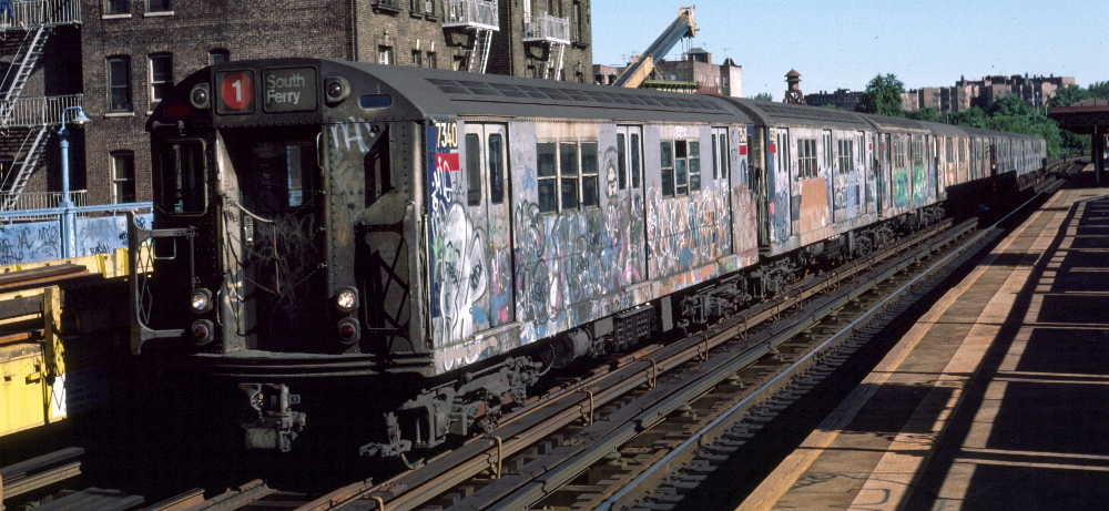 (69k, 1000x461)<br><b>Country:</b> United States<br><b>City:</b> New York<br><b>System:</b> New York City Transit<br><b>Line:</b> IRT West Side Line<br><b>Location:</b> 215th Street <br><b>Route:</b> 1<br><b>Car:</b> R-22 (St. Louis, 1957-58) 7340 <br><b>Photo by:</b> Robert Callahan<br><b>Date:</b> 10/6/1984<br><b>Viewed (this week/total):</b> 2 / 866