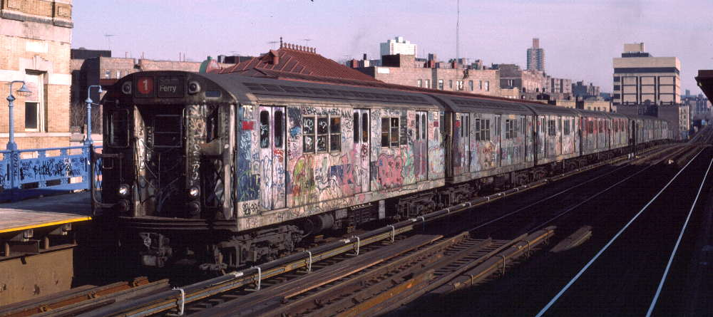 (66k, 1000x445)<br><b>Country:</b> United States<br><b>City:</b> New York<br><b>System:</b> New York City Transit<br><b>Line:</b> IRT West Side Line<br><b>Location:</b> 207th Street <br><b>Route:</b> 1<br><b>Car:</b> R-22 (St. Louis, 1957-58) 7351 <br><b>Photo by:</b> Robert Callahan<br><b>Date:</b> 2/16/1985<br><b>Viewed (this week/total):</b> 0 / 1091