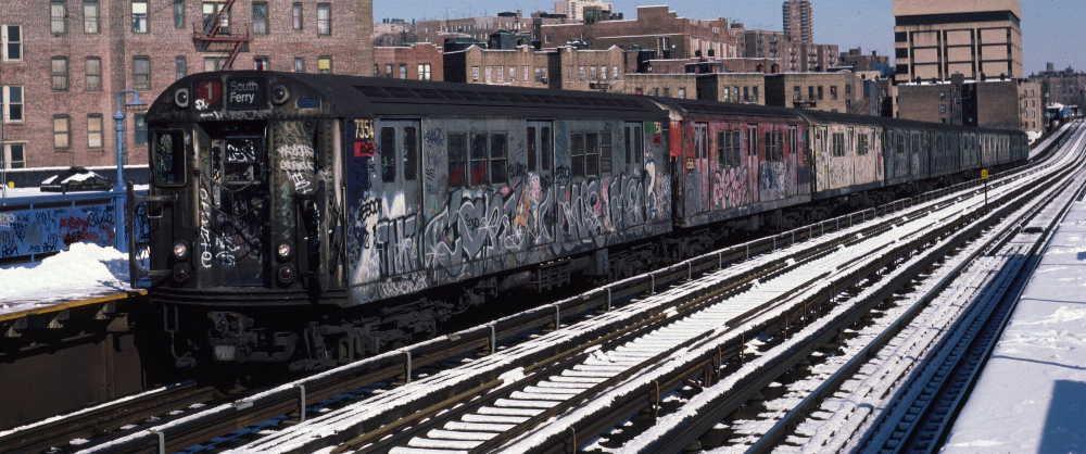 (71k, 1000x418)<br><b>Country:</b> United States<br><b>City:</b> New York<br><b>System:</b> New York City Transit<br><b>Line:</b> IRT West Side Line<br><b>Location:</b> 207th Street <br><b>Route:</b> 1<br><b>Car:</b> R-22 (St. Louis, 1957-58) 7354 <br><b>Photo by:</b> Robert Callahan<br><b>Date:</b> 2/3/1985<br><b>Viewed (this week/total):</b> 0 / 973