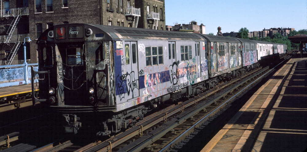 (73k, 1000x496)<br><b>Country:</b> United States<br><b>City:</b> New York<br><b>System:</b> New York City Transit<br><b>Line:</b> IRT West Side Line<br><b>Location:</b> 215th Street<br><b>Route:</b> 1<br><b>Car:</b> R-22 (St. Louis, 1957-58) 7356 <br><b>Photo by:</b> Robert Callahan<br><b>Date:</b> 10/6/1984<br><b>Viewed (this week/total):</b> 0 / 1334