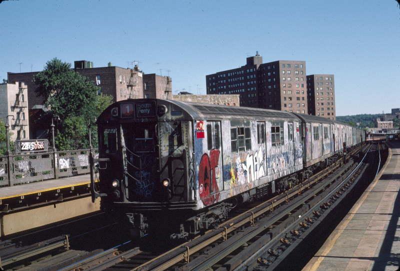 (65k, 800x542)<br><b>Country:</b> United States<br><b>City:</b> New York<br><b>System:</b> New York City Transit<br><b>Line:</b> IRT West Side Line<br><b>Location:</b> 225th Street <br><b>Route:</b> 1<br><b>Car:</b> R-22 (St. Louis, 1957-58) 7358 <br><b>Photo by:</b> Robert Callahan<br><b>Date:</b> 10/6/1984<br><b>Viewed (this week/total):</b> 0 / 995