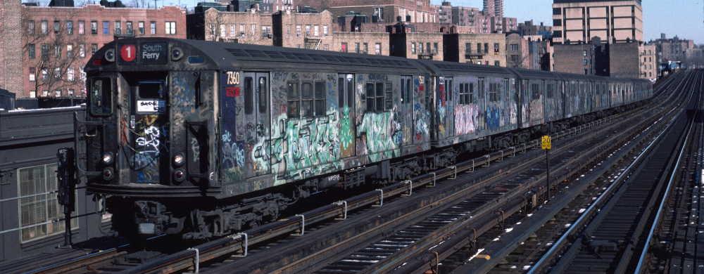 (61k, 1000x390)<br><b>Country:</b> United States<br><b>City:</b> New York<br><b>System:</b> New York City Transit<br><b>Line:</b> IRT West Side Line<br><b>Location:</b> 207th Street <br><b>Route:</b> 1<br><b>Car:</b> R-22 (St. Louis, 1957-58) 7360 <br><b>Photo by:</b> Robert Callahan<br><b>Date:</b> 2/10/1985<br><b>Viewed (this week/total):</b> 0 / 1013