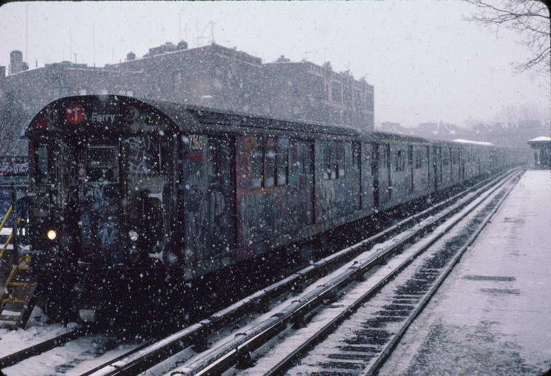 (65k, 800x546)<br><b>Country:</b> United States<br><b>City:</b> New York<br><b>System:</b> New York City Transit<br><b>Line:</b> IRT West Side Line<br><b>Location:</b> Dyckman Street <br><b>Route:</b> 1<br><b>Car:</b> R-22 (St. Louis, 1957-58) 7368 <br><b>Photo by:</b> Robert Callahan<br><b>Date:</b> 1/19/1985<br><b>Viewed (this week/total):</b> 3 / 1219