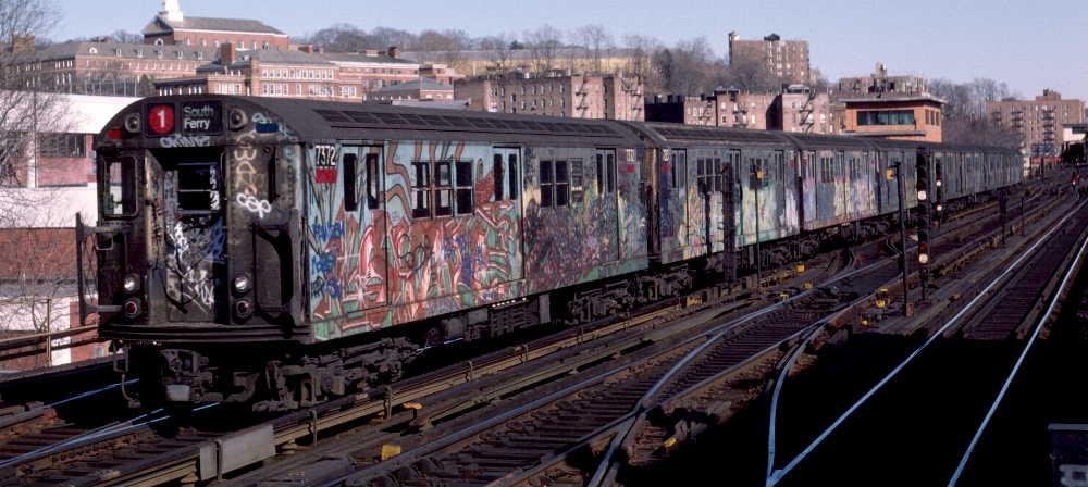 (66k, 1000x448)<br><b>Country:</b> United States<br><b>City:</b> New York<br><b>System:</b> New York City Transit<br><b>Line:</b> IRT West Side Line<br><b>Location:</b> 238th Street <br><b>Route:</b> 1<br><b>Car:</b> R-22 (St. Louis, 1957-58) 7372 <br><b>Photo by:</b> Robert Callahan<br><b>Date:</b> 2/18/1985<br><b>Viewed (this week/total):</b> 0 / 996