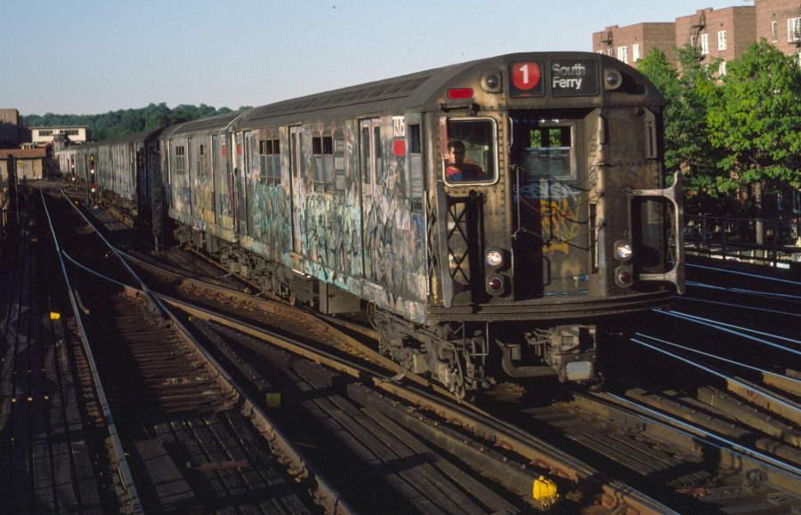(74k, 900x579)<br><b>Country:</b> United States<br><b>City:</b> New York<br><b>System:</b> New York City Transit<br><b>Line:</b> IRT West Side Line<br><b>Location:</b> 238th Street <br><b>Route:</b> 1<br><b>Car:</b> R-22 (St. Louis, 1957-58) 7375 <br><b>Photo by:</b> Robert Callahan<br><b>Date:</b> 9/21/1984<br><b>Viewed (this week/total):</b> 0 / 1054