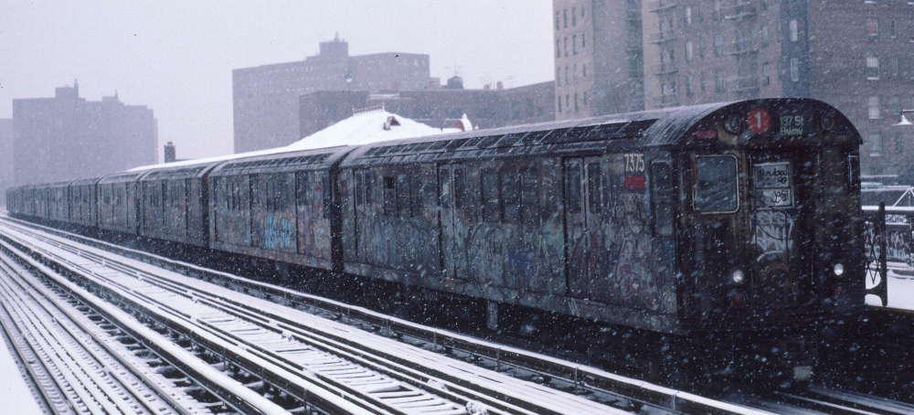 (66k, 1000x454)<br><b>Country:</b> United States<br><b>City:</b> New York<br><b>System:</b> New York City Transit<br><b>Line:</b> IRT West Side Line<br><b>Location:</b> 231st Street <br><b>Route:</b> 1<br><b>Car:</b> R-22 (St. Louis, 1957-58) 7375 <br><b>Photo by:</b> Robert Callahan<br><b>Date:</b> 2/2/1985<br><b>Viewed (this week/total):</b> 0 / 774