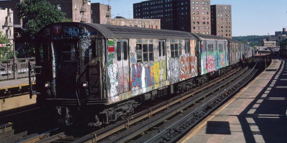 (73k, 1000x501)<br><b>Country:</b> United States<br><b>City:</b> New York<br><b>System:</b> New York City Transit<br><b>Line:</b> IRT West Side Line<br><b>Location:</b> 225th Street <br><b>Route:</b> 1<br><b>Car:</b> R-22 (St. Louis, 1957-58) 7380 <br><b>Photo by:</b> Robert Callahan<br><b>Date:</b> 10/6/1984<br><b>Viewed (this week/total):</b> 0 / 896