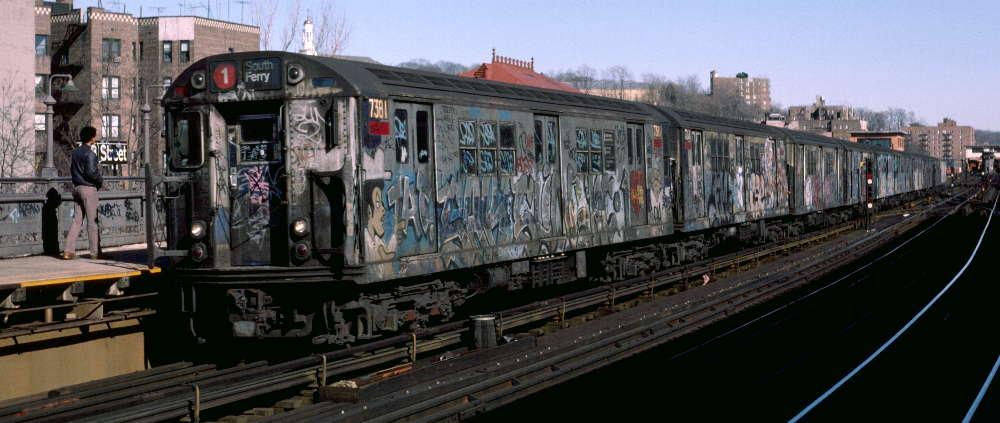 (62k, 1000x423)<br><b>Country:</b> United States<br><b>City:</b> New York<br><b>System:</b> New York City Transit<br><b>Line:</b> IRT West Side Line<br><b>Location:</b> 238th Street <br><b>Route:</b> 1<br><b>Car:</b> R-22 (St. Louis, 1957-58) 7381 <br><b>Photo by:</b> Robert Callahan<br><b>Date:</b> 2/18/1985<br><b>Viewed (this week/total):</b> 1 / 923