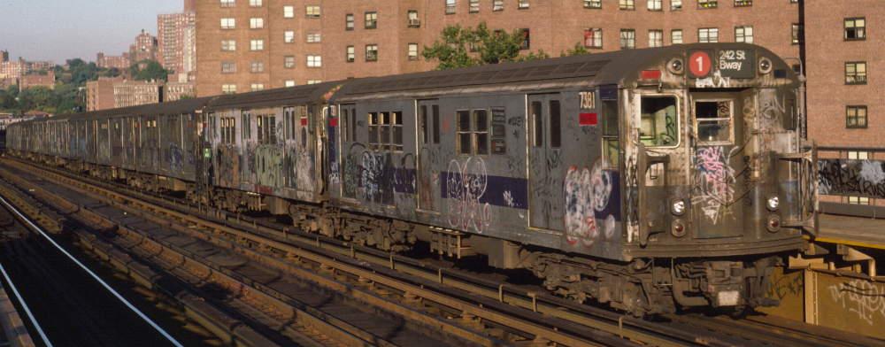 (66k, 1000x392)<br><b>Country:</b> United States<br><b>City:</b> New York<br><b>System:</b> New York City Transit<br><b>Line:</b> IRT West Side Line<br><b>Location:</b> 225th Street <br><b>Route:</b> 1<br><b>Car:</b> R-22 (St. Louis, 1957-58) 7381 <br><b>Photo by:</b> Robert Callahan<br><b>Date:</b> 10/11/1984<br><b>Viewed (this week/total):</b> 0 / 1122