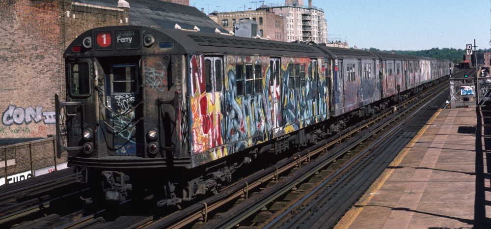 (68k, 1000x466)<br><b>Country:</b> United States<br><b>City:</b> New York<br><b>System:</b> New York City Transit<br><b>Line:</b> IRT West Side Line<br><b>Location:</b> 231st Street <br><b>Route:</b> 1<br><b>Car:</b> R-22 (St. Louis, 1957-58) 7383 <br><b>Photo by:</b> Robert Callahan<br><b>Date:</b> 10/6/1984<br><b>Viewed (this week/total):</b> 3 / 867