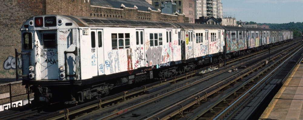 (67k, 1000x396)<br><b>Country:</b> United States<br><b>City:</b> New York<br><b>System:</b> New York City Transit<br><b>Line:</b> IRT West Side Line<br><b>Location:</b> 231st Street <br><b>Route:</b> 1<br><b>Car:</b> R-22 (St. Louis, 1957-58) 7385 <br><b>Photo by:</b> Robert Callahan<br><b>Date:</b> 9/22/1984<br><b>Viewed (this week/total):</b> 0 / 846