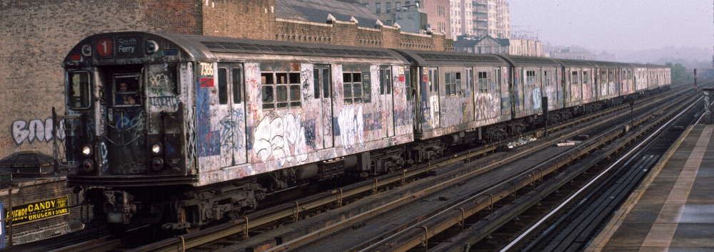 (58k, 1000x354)<br><b>Country:</b> United States<br><b>City:</b> New York<br><b>System:</b> New York City Transit<br><b>Line:</b> IRT West Side Line<br><b>Location:</b> 231st Street <br><b>Route:</b> 1<br><b>Car:</b> R-22 (St. Louis, 1957-58) 7386 <br><b>Photo by:</b> Robert Callahan<br><b>Date:</b> 10/19/1984<br><b>Viewed (this week/total):</b> 0 / 737