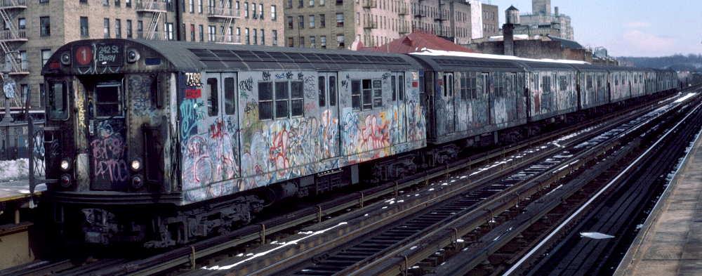 (66k, 1000x393)<br><b>Country:</b> United States<br><b>City:</b> New York<br><b>System:</b> New York City Transit<br><b>Line:</b> IRT West Side Line<br><b>Location:</b> 231st Street <br><b>Route:</b> 1<br><b>Car:</b> R-22 (St. Louis, 1957-58) 7388 <br><b>Photo by:</b> Robert Callahan<br><b>Date:</b> 2/9/1985<br><b>Viewed (this week/total):</b> 3 / 795
