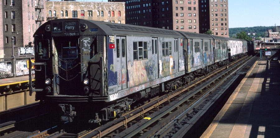 (64k, 900x443)<br><b>Country:</b> United States<br><b>City:</b> New York<br><b>System:</b> New York City Transit<br><b>Line:</b> IRT West Side Line<br><b>Location:</b> 225th Street <br><b>Route:</b> 1<br><b>Car:</b> R-22 (St. Louis, 1957-58) 7389 <br><b>Photo by:</b> Robert Callahan<br><b>Date:</b> 10/6/1984<br><b>Viewed (this week/total):</b> 0 / 954