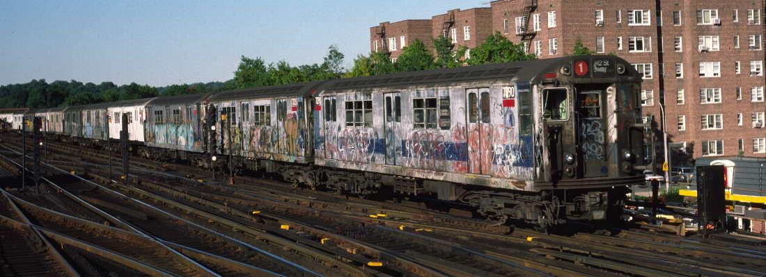 (67k, 1100x399)<br><b>Country:</b> United States<br><b>City:</b> New York<br><b>System:</b> New York City Transit<br><b>Line:</b> IRT West Side Line<br><b>Location:</b> 238th Street <br><b>Route:</b> 1<br><b>Car:</b> R-22 (St. Louis, 1957-58) 7390 <br><b>Photo by:</b> Robert Callahan<br><b>Date:</b> 9/21/1984<br><b>Viewed (this week/total):</b> 0 / 877