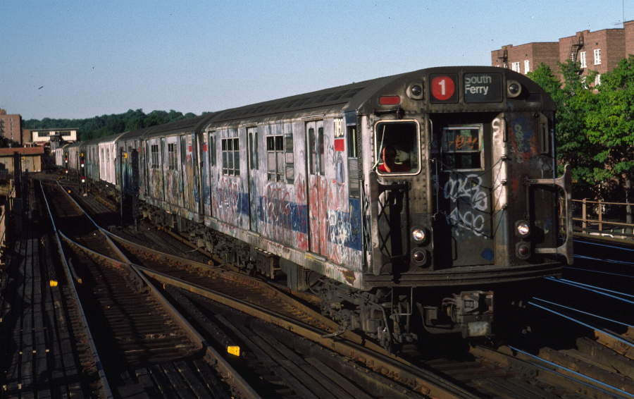 (71k, 900x566)<br><b>Country:</b> United States<br><b>City:</b> New York<br><b>System:</b> New York City Transit<br><b>Line:</b> IRT West Side Line<br><b>Location:</b> 238th Street <br><b>Route:</b> 1<br><b>Car:</b> R-22 (St. Louis, 1957-58) 7390 <br><b>Photo by:</b> Robert Callahan<br><b>Date:</b> 9/21/1984<br><b>Viewed (this week/total):</b> 4 / 954