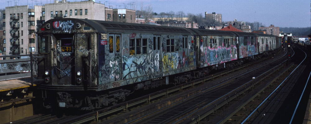 (67k, 1000x401)<br><b>Country:</b> United States<br><b>City:</b> New York<br><b>System:</b> New York City Transit<br><b>Line:</b> IRT West Side Line<br><b>Location:</b> 238th Street <br><b>Route:</b> 1<br><b>Car:</b> R-21 (St. Louis, 1956-57) 7280 <br><b>Photo by:</b> Robert Callahan<br><b>Date:</b> 2/16/1985<br><b>Viewed (this week/total):</b> 1 / 812