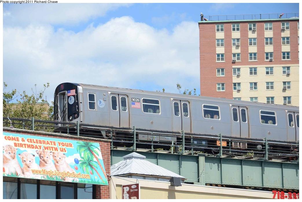 (283k, 1044x698)<br><b>Country:</b> United States<br><b>City:</b> New York<br><b>System:</b> New York City Transit<br><b>Location:</b> Coney Island/Stillwell Avenue<br><b>Route:</b> Q<br><b>Car:</b> R-160B (Option 1) (Kawasaki, 2008-2009)  9028 <br><b>Photo by:</b> Richard Chase<br><b>Date:</b> 8/22/2011<br><b>Viewed (this week/total):</b> 0 / 1132