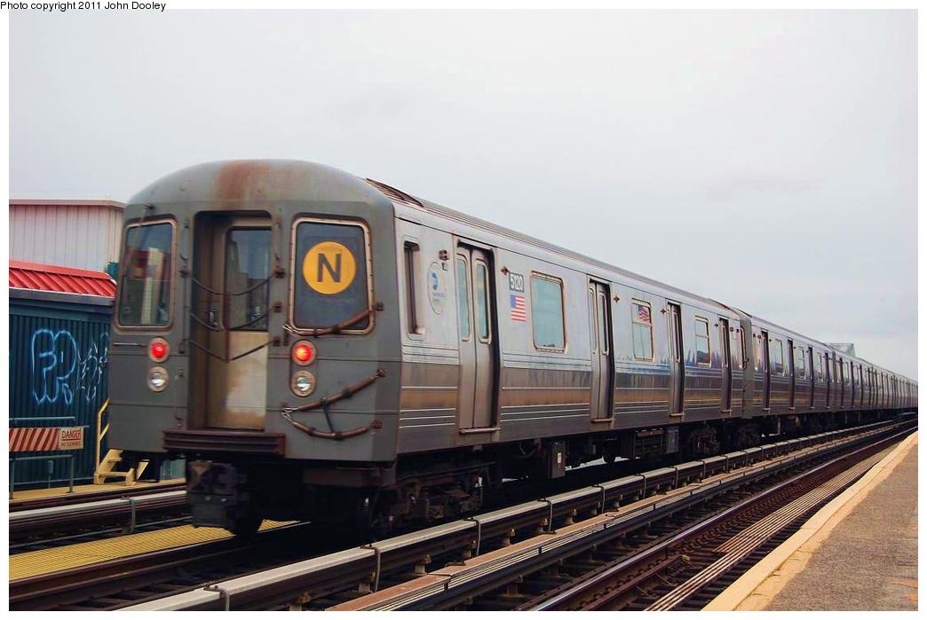 (283k, 1044x699)<br><b>Country:</b> United States<br><b>City:</b> New York<br><b>System:</b> New York City Transit<br><b>Line:</b> BMT West End Line<br><b>Location:</b> 20th Avenue <br><b>Route:</b> N reroute<br><b>Car:</b> R-68A (Kawasaki, 1988-1989)  5120 <br><b>Photo by:</b> John Dooley<br><b>Date:</b> 11/30/2010<br><b>Viewed (this week/total):</b> 0 / 863