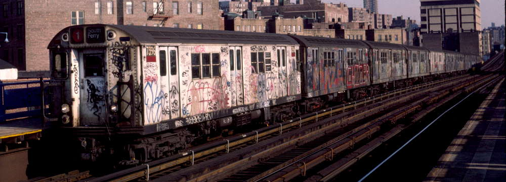 (62k, 1000x361)<br><b>Country:</b> United States<br><b>City:</b> New York<br><b>System:</b> New York City Transit<br><b>Line:</b> IRT West Side Line<br><b>Location:</b> 207th Street <br><b>Route:</b> 1<br><b>Car:</b> R-22 (St. Louis, 1957-58) 7396 <br><b>Photo by:</b> Robert Callahan<br><b>Date:</b> 2/16/1985<br><b>Viewed (this week/total):</b> 5 / 1020