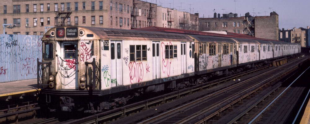 (66k, 1000x400)<br><b>Country:</b> United States<br><b>City:</b> New York<br><b>System:</b> New York City Transit<br><b>Line:</b> IRT White Plains Road Line<br><b>Location:</b> Bronx Park East <br><b>Route:</b> 2<br><b>Car:</b> R-22 (St. Louis, 1957-58) 7626 <br><b>Photo by:</b> Robert Callahan<br><b>Date:</b> 3/2/1985<br><b>Viewed (this week/total):</b> 3 / 854