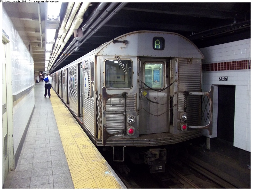 (337k, 1044x788)<br><b>Country:</b> United States<br><b>City:</b> New York<br><b>System:</b> New York City Transit<br><b>Line:</b> IND 8th Avenue Line<br><b>Location:</b> 207th Street <br><b>Route:</b> A<br><b>Car:</b> R-32 (Budd, 1964)  3377 <br><b>Photo by:</b> Christopher Henderson<br><b>Date:</b> 8/29/2011<br><b>Viewed (this week/total):</b> 1 / 1050