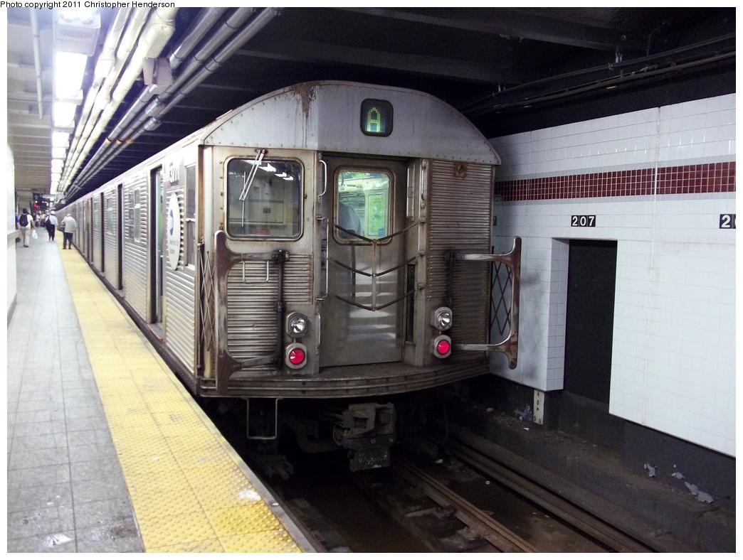 (319k, 1044x788)<br><b>Country:</b> United States<br><b>City:</b> New York<br><b>System:</b> New York City Transit<br><b>Line:</b> IND 8th Avenue Line<br><b>Location:</b> 207th Street <br><b>Route:</b> A<br><b>Car:</b> R-32 (Budd, 1964)  3771 <br><b>Photo by:</b> Christopher Henderson<br><b>Date:</b> 8/31/2011<br><b>Viewed (this week/total):</b> 0 / 968