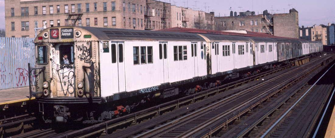 (73k, 1100x454)<br><b>Country:</b> United States<br><b>City:</b> New York<br><b>System:</b> New York City Transit<br><b>Line:</b> IRT White Plains Road Line<br><b>Location:</b> Bronx Park East <br><b>Route:</b> 2<br><b>Car:</b> R-26 (American Car & Foundry, 1959-60) 7791 <br><b>Photo by:</b> Robert Callahan<br><b>Date:</b> 3/2/1985<br><b>Viewed (this week/total):</b> 2 / 856