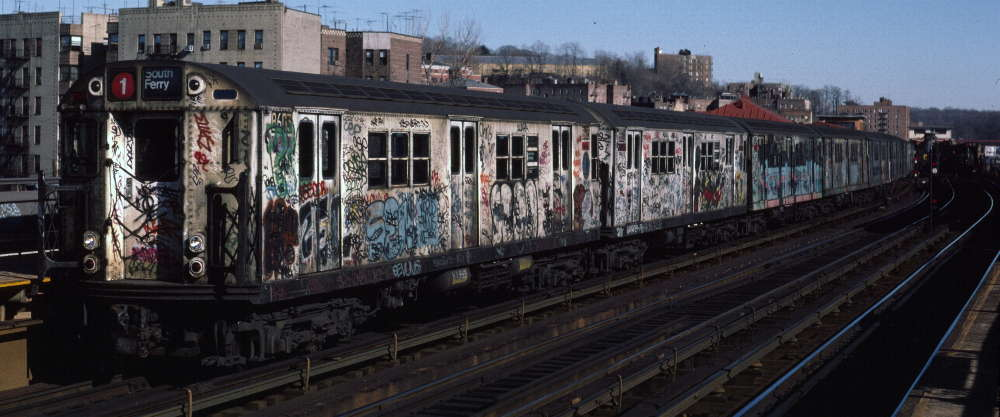 (59k, 1000x417)<br><b>Country:</b> United States<br><b>City:</b> New York<br><b>System:</b> New York City Transit<br><b>Line:</b> IRT West Side Line<br><b>Location:</b> 238th Street <br><b>Route:</b> 1<br><b>Car:</b> R-29 (St. Louis, 1962) 8603 <br><b>Photo by:</b> Robert Callahan<br><b>Date:</b> 2/18/1985<br><b>Viewed (this week/total):</b> 0 / 873