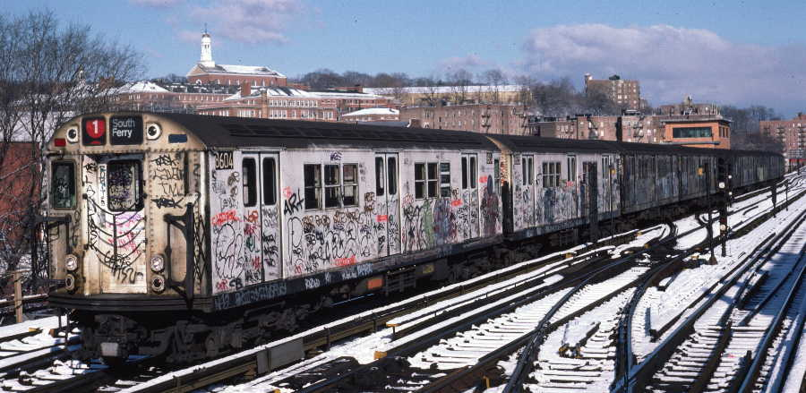 (71k, 900x439)<br><b>Country:</b> United States<br><b>City:</b> New York<br><b>System:</b> New York City Transit<br><b>Line:</b> IRT West Side Line<br><b>Location:</b> 238th Street <br><b>Route:</b> 1<br><b>Car:</b> R-29 (St. Louis, 1962) 8604 <br><b>Photo by:</b> Robert Callahan<br><b>Date:</b> 1/5/1985<br><b>Viewed (this week/total):</b> 2 / 1127