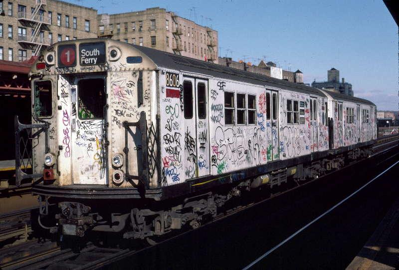 (66k, 800x541)<br><b>Country:</b> United States<br><b>City:</b> New York<br><b>System:</b> New York City Transit<br><b>Line:</b> IRT West Side Line<br><b>Location:</b> 231st Street <br><b>Route:</b> 1<br><b>Car:</b> R-29 (St. Louis, 1962) 8606 <br><b>Photo by:</b> Robert Callahan<br><b>Date:</b> 11/17/1984<br><b>Viewed (this week/total):</b> 1 / 895