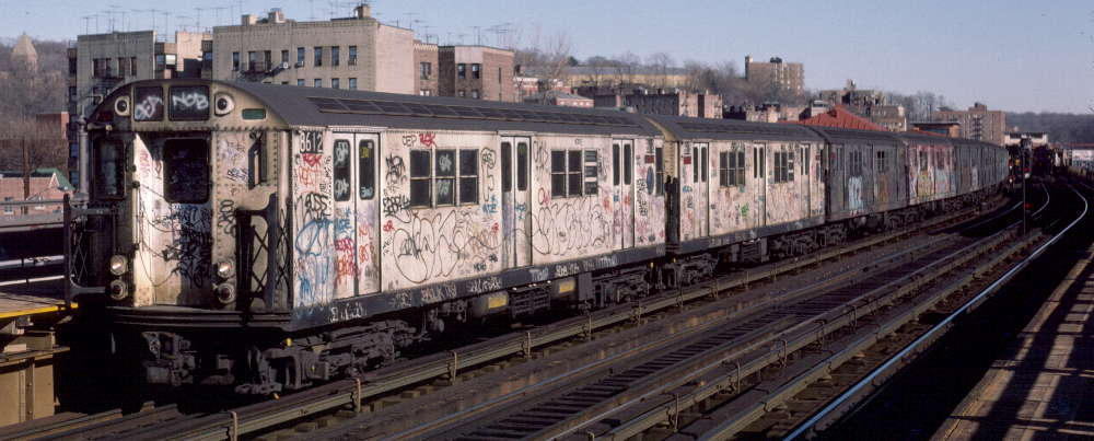 (64k, 1000x403)<br><b>Country:</b> United States<br><b>City:</b> New York<br><b>System:</b> New York City Transit<br><b>Line:</b> IRT West Side Line<br><b>Location:</b> 238th Street <br><b>Route:</b> 1<br><b>Car:</b> R-29 (St. Louis, 1962) 8612 <br><b>Photo by:</b> Robert Callahan<br><b>Date:</b> 2/18/1985<br><b>Viewed (this week/total):</b> 0 / 918