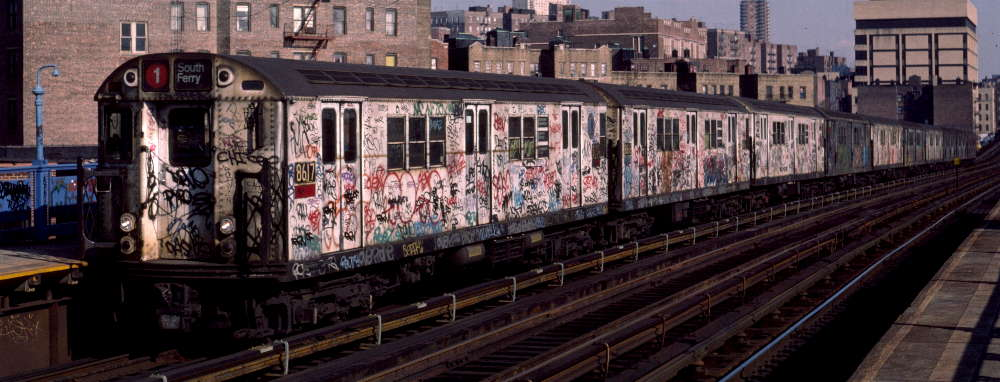(66k, 1000x382)<br><b>Country:</b> United States<br><b>City:</b> New York<br><b>System:</b> New York City Transit<br><b>Line:</b> IRT West Side Line<br><b>Location:</b> 207th Street <br><b>Route:</b> 1<br><b>Car:</b> R-29 (St. Louis, 1962) 8617 <br><b>Photo by:</b> Robert Callahan<br><b>Date:</b> 2/16/1985<br><b>Viewed (this week/total):</b> 0 / 963