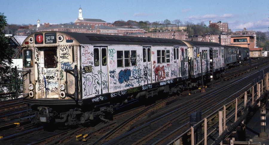 (66k, 900x485)<br><b>Country:</b> United States<br><b>City:</b> New York<br><b>System:</b> New York City Transit<br><b>Line:</b> IRT West Side Line<br><b>Location:</b> 238th Street <br><b>Route:</b> 1<br><b>Car:</b> R-29 (St. Louis, 1962) 8638 <br><b>Photo by:</b> Robert Callahan<br><b>Date:</b> 11/17/1984<br><b>Viewed (this week/total):</b> 0 / 941