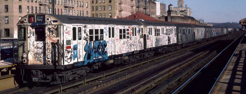 (68k, 1000x385)<br><b>Country:</b> United States<br><b>City:</b> New York<br><b>System:</b> New York City Transit<br><b>Line:</b> IRT West Side Line<br><b>Location:</b> 231st Street <br><b>Route:</b> 1<br><b>Car:</b> R-29 (St. Louis, 1962) 8649 <br><b>Photo by:</b> Robert Callahan<br><b>Date:</b> 1/12/1985<br><b>Viewed (this week/total):</b> 0 / 929