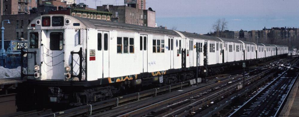 (66k, 1000x391)<br><b>Country:</b> United States<br><b>City:</b> New York<br><b>System:</b> New York City Transit<br><b>Line:</b> IRT West Side Line<br><b>Location:</b> 215th Street <br><b>Route:</b> 1<br><b>Car:</b> R-29 (St. Louis, 1962) 8658 <br><b>Photo by:</b> Robert Callahan<br><b>Date:</b> 2/9/1985<br><b>Viewed (this week/total):</b> 4 / 1142