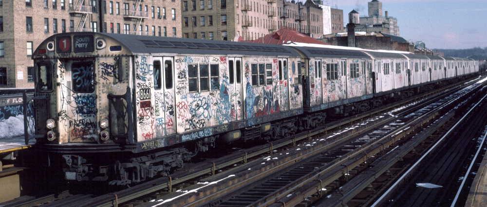 (68k, 1000x426)<br><b>Country:</b> United States<br><b>City:</b> New York<br><b>System:</b> New York City Transit<br><b>Line:</b> IRT West Side Line<br><b>Location:</b> 238th Street <br><b>Route:</b> 1<br><b>Car:</b> R-29 (St. Louis, 1962) 8661 <br><b>Photo by:</b> Robert Callahan<br><b>Date:</b> 2/9/1985<br><b>Viewed (this week/total):</b> 8 / 833