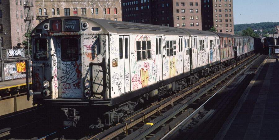 (69k, 900x451)<br><b>Country:</b> United States<br><b>City:</b> New York<br><b>System:</b> New York City Transit<br><b>Line:</b> IRT White Plains Road Line<br><b>Location:</b> 225th Street <br><b>Route:</b> 1<br><b>Car:</b> R-29 (St. Louis, 1962) 8678 <br><b>Photo by:</b> Robert Callahan<br><b>Date:</b> 10/6/1984<br><b>Viewed (this week/total):</b> 2 / 1149