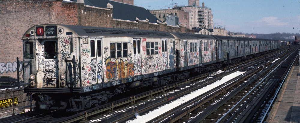(68k, 1000x409)<br><b>Country:</b> United States<br><b>City:</b> New York<br><b>System:</b> New York City Transit<br><b>Line:</b> IRT West Side Line<br><b>Location:</b> 231st Street <br><b>Route:</b> 1<br><b>Car:</b> R-29 (St. Louis, 1962) 8681 <br><b>Photo by:</b> Robert Callahan<br><b>Date:</b> 2/9/1985<br><b>Viewed (this week/total):</b> 0 / 746